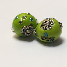 Load image into Gallery viewer, Green Glass Beads With Silver Embellishments and Blue Rhinestones, 18 mm, 2 Beads