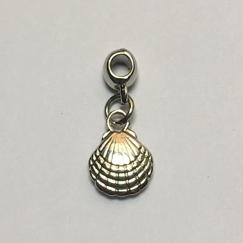 Silver Seashell Charm with Slider , 20 x 9 mm