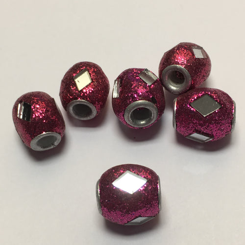Pink Glittered Polymer Clay Barrel Beads with Diamond Mirrors, 14 x 12 mm, 6 Beads