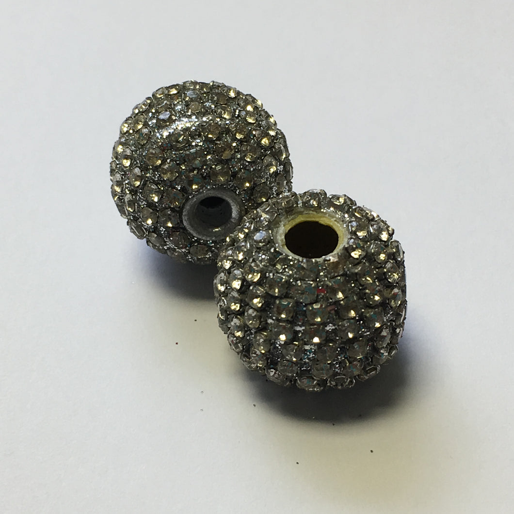 Gray Polymer Clay and Clear Rhinestones Beads, 18 mm, 2 Beads