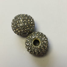 Load image into Gallery viewer, Gray Polymer Clay and Clear Rhinestones Beads, 18 mm, 2 Beads