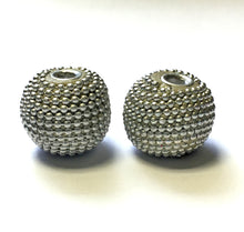 Load image into Gallery viewer, Silver Beaded Acrylic Beads, 17 mm - 2 Beads