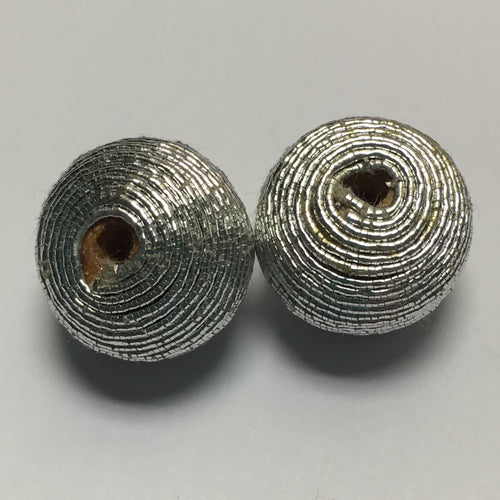Metallic Silver String Wrapped Wooden Beads, 13 mm, 2 Beads