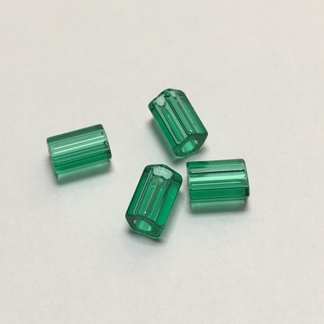 Transparent Emerald Green Glass Hex Tube Beads, 6 x 4 mm, 4 Beads