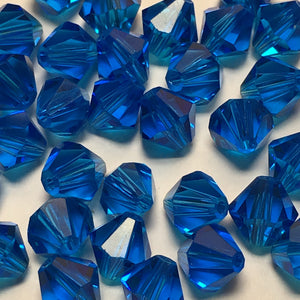 Swarovski Crystal Capri Blue Faceted Bicone Beads, 6 mm, 18 Beads
