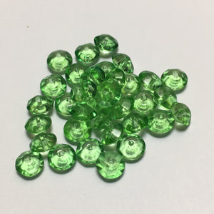 Transparent Green Glass Faceted Saucer Beads, 8 x 4 mm, 34 Beads