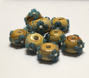 Bumpy Blue Flower on Swirled Brown Round Glass Lampwork Beads, 8 x 13 mm, 9 Beads