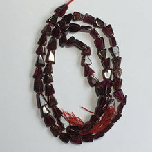 Load image into Gallery viewer, Garnet Semi-Precious Stone Triangle Flat Beads, 4 x 7 mm - 13-Inch Strand