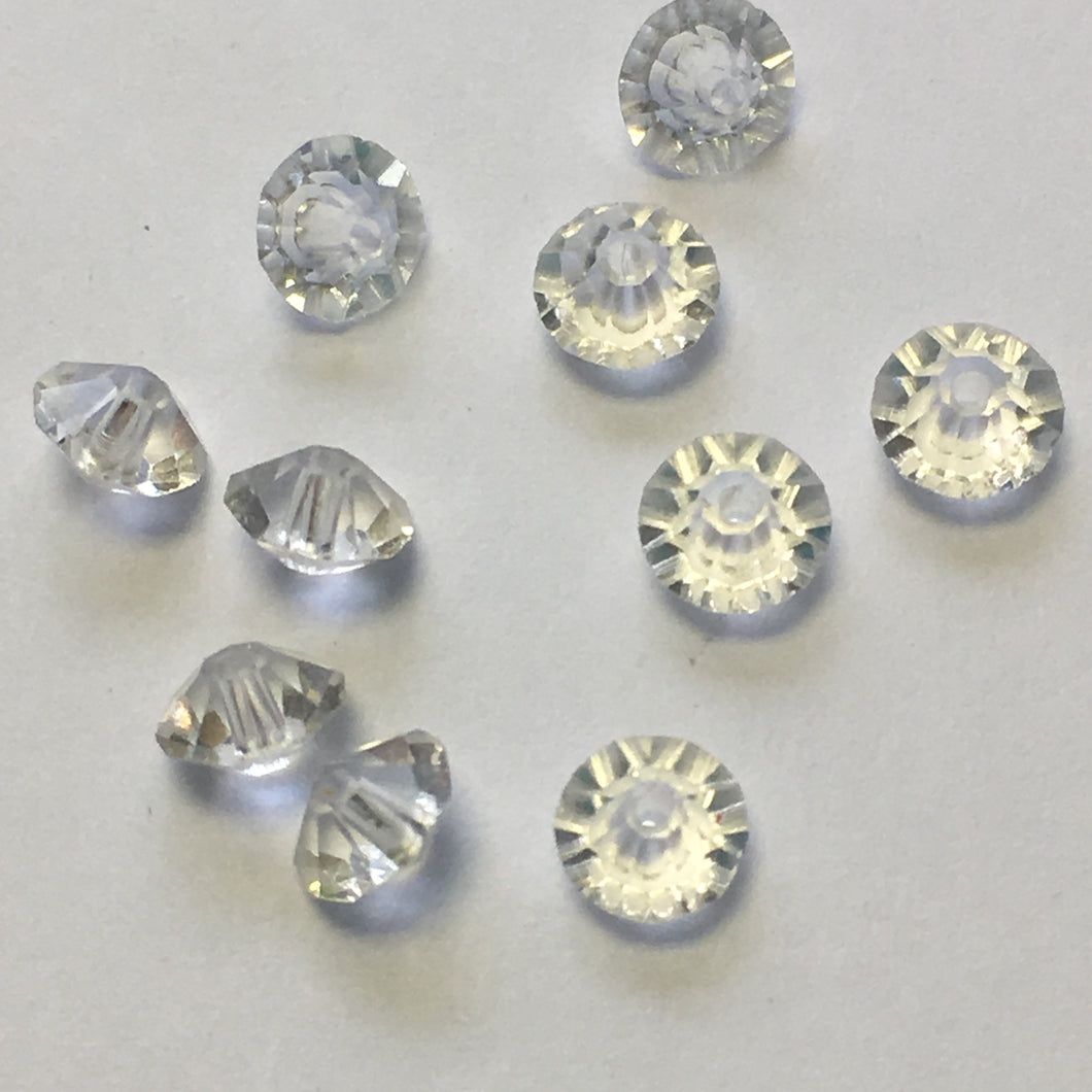Clear Glass Faceted Saucer Beads, 3 x 5 mm -  10 Beads