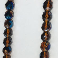 Load image into Gallery viewer, Czech Fire Polished Faceted Blue Iris / Dark Topaz Brown Round Glass Beads, 8 mm - 25 Beads