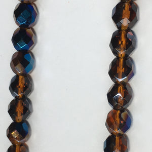 Czech Fire Polished Faceted Blue Iris / Dark Topaz Brown Round Glass Beads, 8 mm - 25 Beads