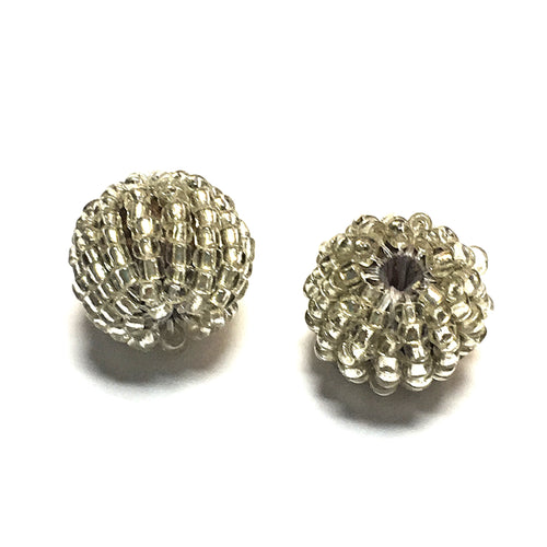 Silver Glass Beaded Acrylic Beads, 12 mm - 2 Beads