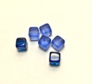 Transparent and Frosted Sapphire Blue Cube / Square Beads, 6 mm, 6 Beads