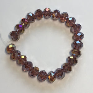 Czech Fire Polished Faceted Amethyst / Purple Luster Glass Rondelles Beads, 12 mm - 23 Beads