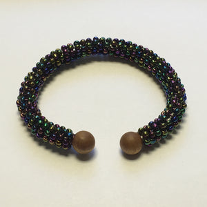 Adjustable Bracelet, Purple Iris Seed Beads Wrapped Around Art Wire with Wooden Wire Ends, One Size Fits All