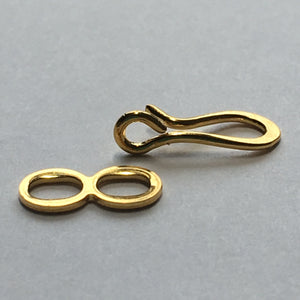 Gold Plated Hook and Eye Clasps, 13 x 5 mm, 10 or 25 Sets