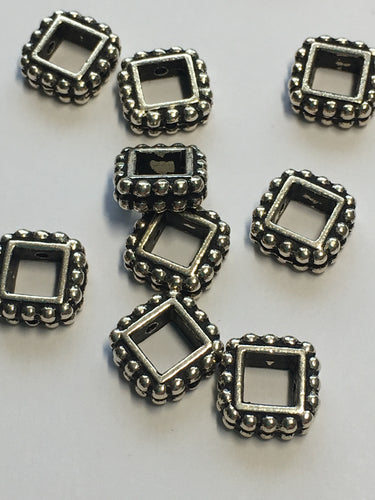 Silver Plated TierraCast Square Beaded Bead Frames, 8 mm, 6 Frames