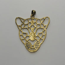 Load image into Gallery viewer, Antique Gold Geometric Leopard Pendant With Bail, 57 x 46 x 2 mm