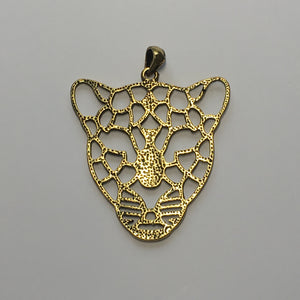 Antique Gold Geometric Leopard Pendant With Bail, 57 x 46 x 2 mm