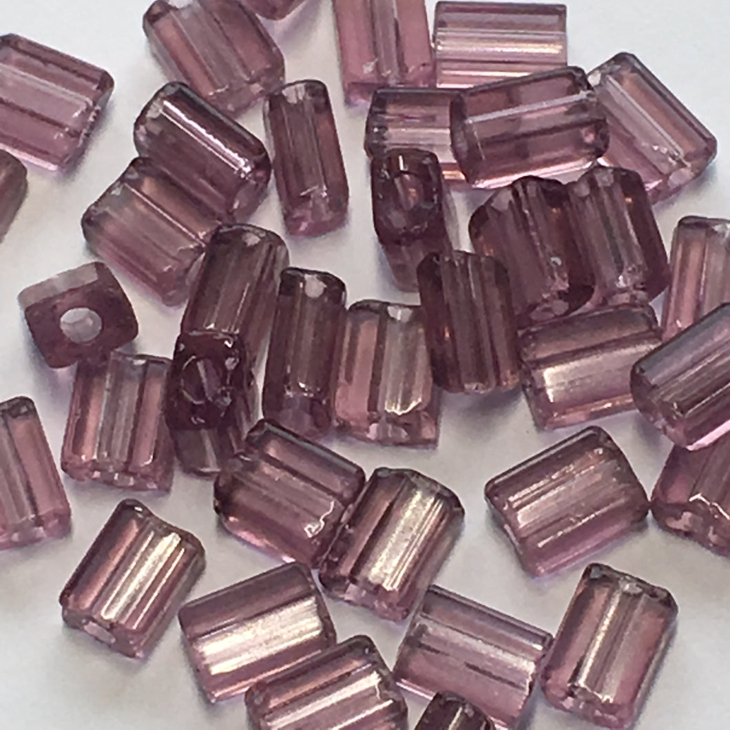 Transparent Amethyst Glass Flat Rectangle Beads, 5 x 4 x 3 Average Size, 40 Beads