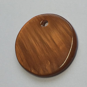 Brown Mother of Pearl Flat Round Charm 20 x 2 mm