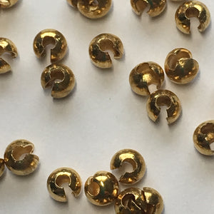 Gold Finish Crimp Bead Covers, 3.5 x 4 mm -  25 Covers