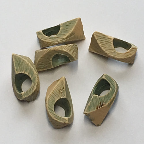 Vintage Geometric Green Wiped Acrylic Beads, 7 x 13 mm - 6 Beads