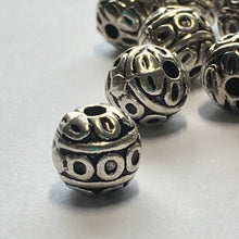 Load image into Gallery viewer, Antique Silver Decorative Round Beads, 8 mm - 10 or 20 Beads