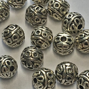 Antique Silver Decorative Round Beads, 8 mm - 10 or 20 Beads