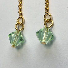 Load image into Gallery viewer, Gold Plated Post Dangle Earrings with Erinite Green Swarovski Crystal on Chain, 60 mm