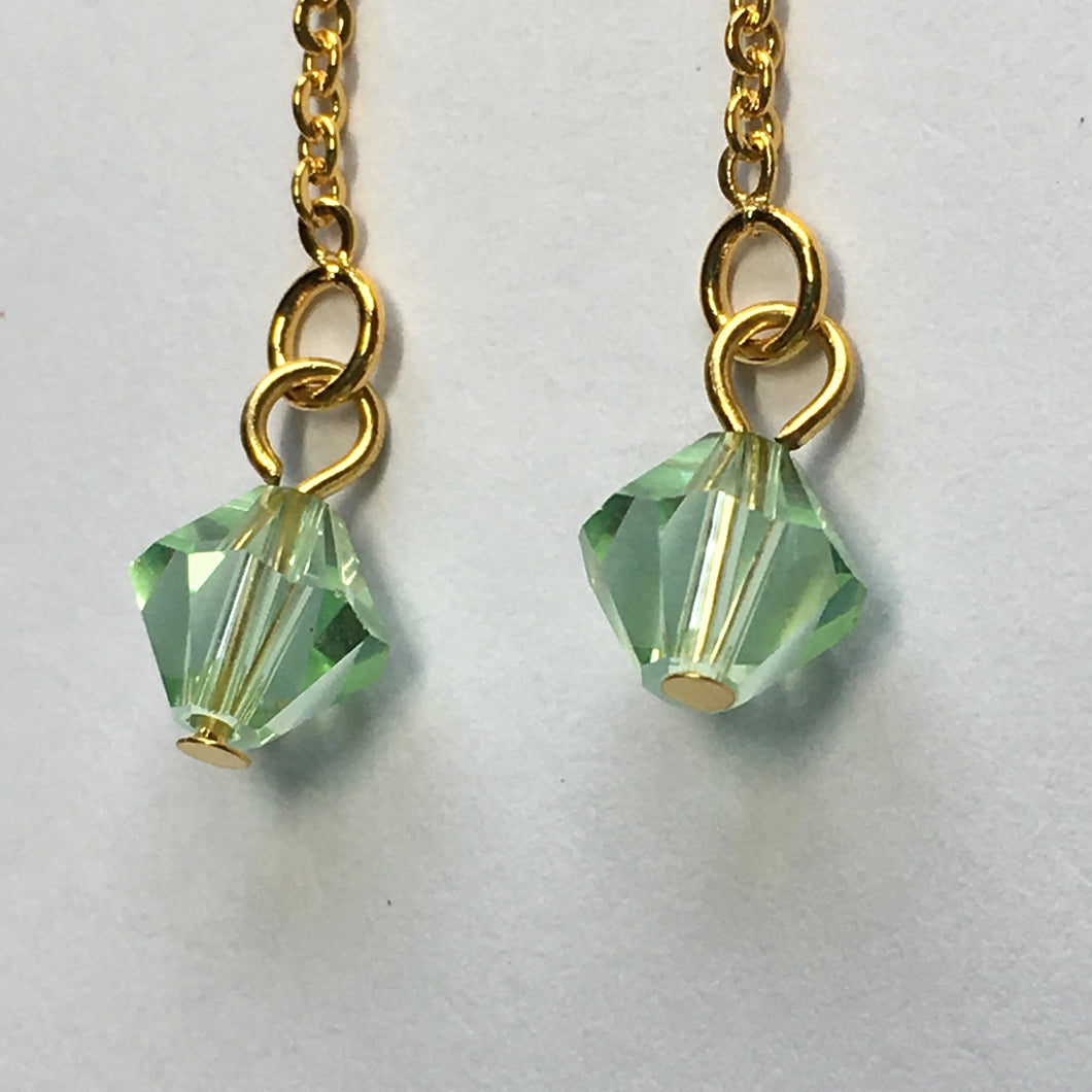 Gold Plated Post Dangle Earrings with Erinite Green Swarovski Crystal on Chain, 60 mm