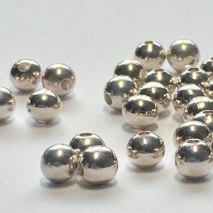Silver Plated Smooth Round Beads, 5 mm, 42 Beads