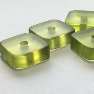 Translucent Frosted Green Acrylic Square Plate Beads, 5 x 14 mm, Hole through 5 mm Side - 6 Beads,