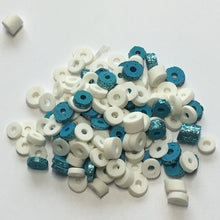 Load image into Gallery viewer, Blue Glittered and White Rubber Rings, 5 mm, 1-3 mm Thick, 130 Pieces