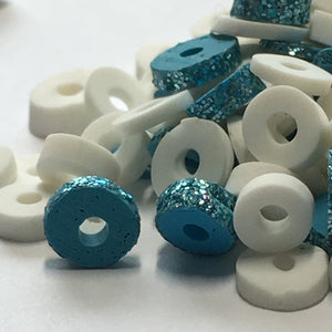 Blue Glittered and White Rubber Rings, 5 mm, 1-3 mm Thick, 130 Pieces