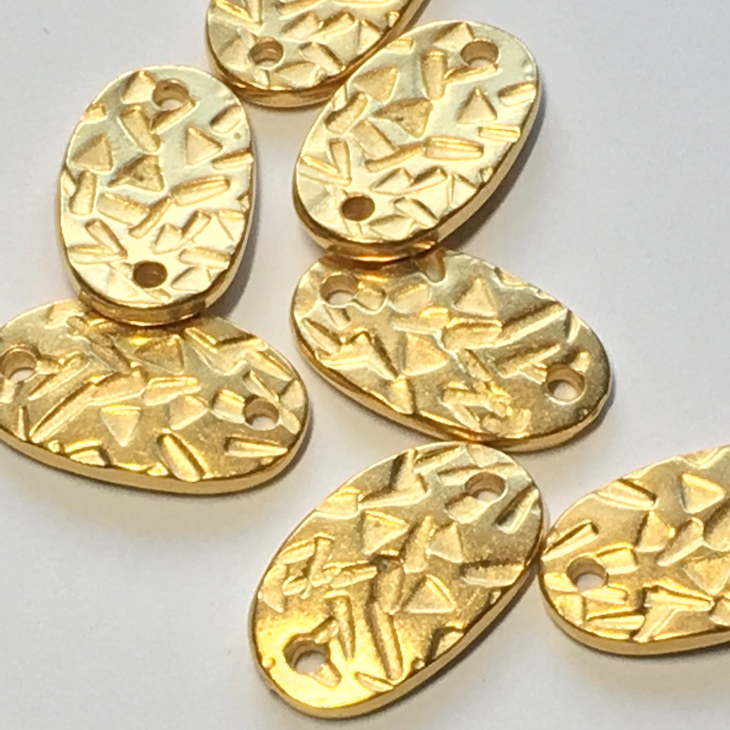 Gold Patterned Oval Connecter Beads, 19 x 11 x 2 mm - 8 Beads