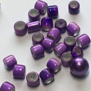 Metallic Neon Purple Painted Roller and Round Beads, 5 x 5 and 8 mm - 27 Beads