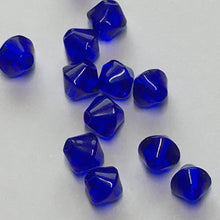 Load image into Gallery viewer, Transparent Cobalt Blue Glass Bicone Beads, 4 and 6 mm, 15 Beads