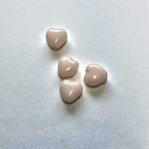 Opaque Light Pink Glass Heart Beads, 6 x 6 x 4 mm, 4 Beads