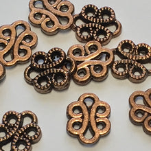 Load image into Gallery viewer, Antique Copper Dotted Swirl Connector Beads, 11 x 9 mm - 14 Beads