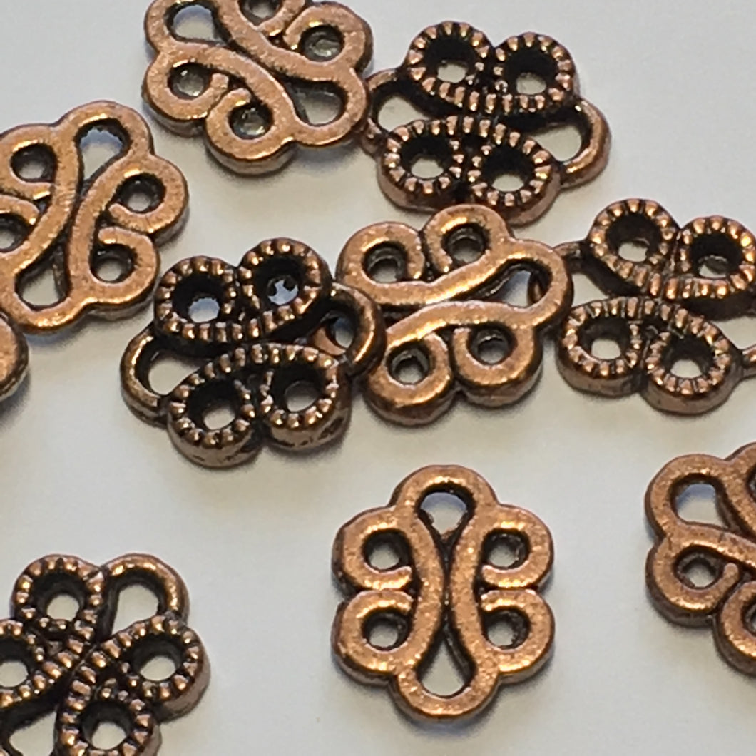 Antique Copper Dotted Swirl Connector Beads, 11 x 9 mm - 14 Beads