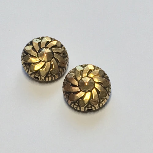 Vintage Antique Gold Flower Metal Coin Beads, 13 mm, 7 mm Thick, 2 Beads