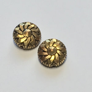 Vintage Antique Gold Flower Coin Beads, 13 x 7 mm - 2 Beads