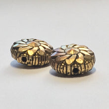 Load image into Gallery viewer, Vintage Antique Gold Flower Coin Beads, 13 x 7 mm - 2 Beads