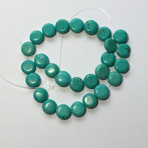 Turquoise Color Semi-Precious Stone Coin Beads 10 mm Rounds, 10-Inch Strand