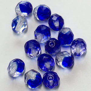 Czech Fire Polished Crystal/Dark Blue Faceted Round Beads, 8 mm - 14 Beads