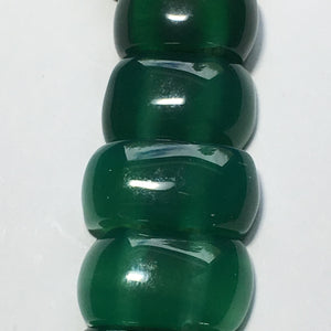 Green Chalcedony Semi-Precious Stone 2-Hole Slider Beads 20 x 10 mm - 13-Inch Strand; 35 Beads