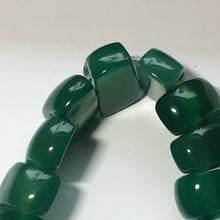 Load image into Gallery viewer, Green Chalcedony Semi-Precious Stone 2-Hole Slider Beads 20 x 10 mm - 13-Inch Strand; 35 Beads