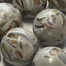 Load image into Gallery viewer, Gray Resin and Shell Round Beads, 14 mm, 20 Beads