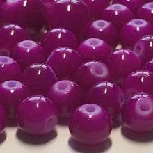 Load image into Gallery viewer, Neon Purple Painted Glass Round Beads, 5 and 7 mm, 43 Beads